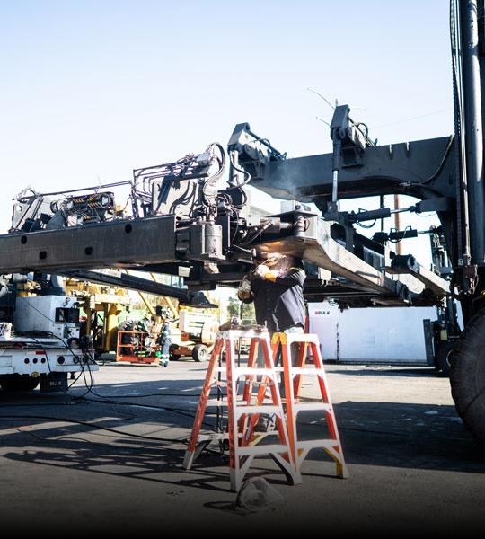 Bulk Team Member Working on a Rebuild, Intermodal Division